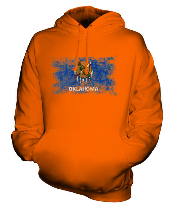 OKLAHOMA STATE STATE STATE DISTRESSED FLAG UNISEX HOODIE TOP OKLAHOMAN  JERSEY GIFT    Tragen-wider  834548