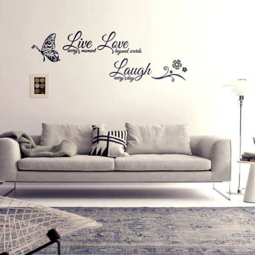 Home Decor Charm Live Laugh Love Quotes Butterfly Wall Stickers Room Decal Home Room Decor Home Garden Mbln Org