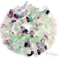 "6-8mm Natural Fluorite Freeform Gravel  DIY Gemstone Loose Beads Strand 16"""