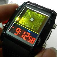 Schwarz Herren Jungen Digital LED Kalender Grün&Gelb Blitz Armbanduhr Watch uhr