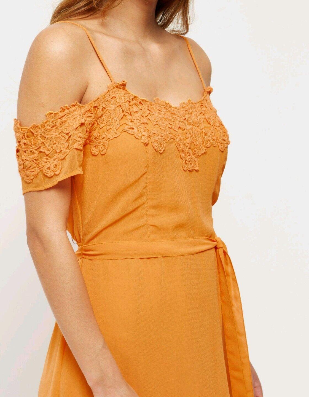 BNWT, River Island orange LACE DETAIL FESTIVAL DRESS, Size 8, RRP