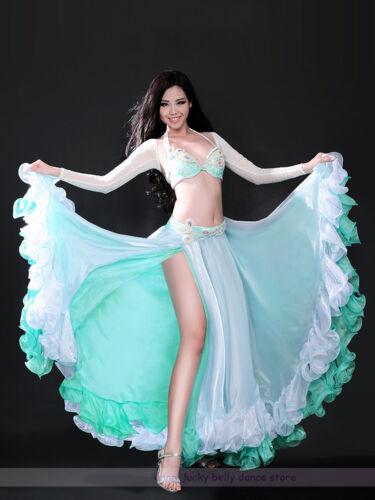 New Belly Dance Costume 3PCS set of Bra/&Belt/&Skirt 34B//C 36B//C 38B//C 2 colors