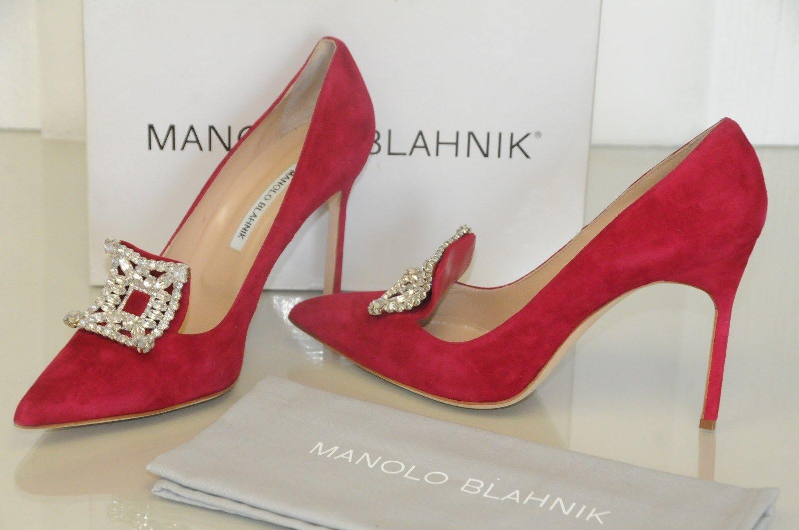 Neu Manolo Blahnik Borlak Rot Himbeere Jeweled Kristallen Schuhe 40.5 41.5