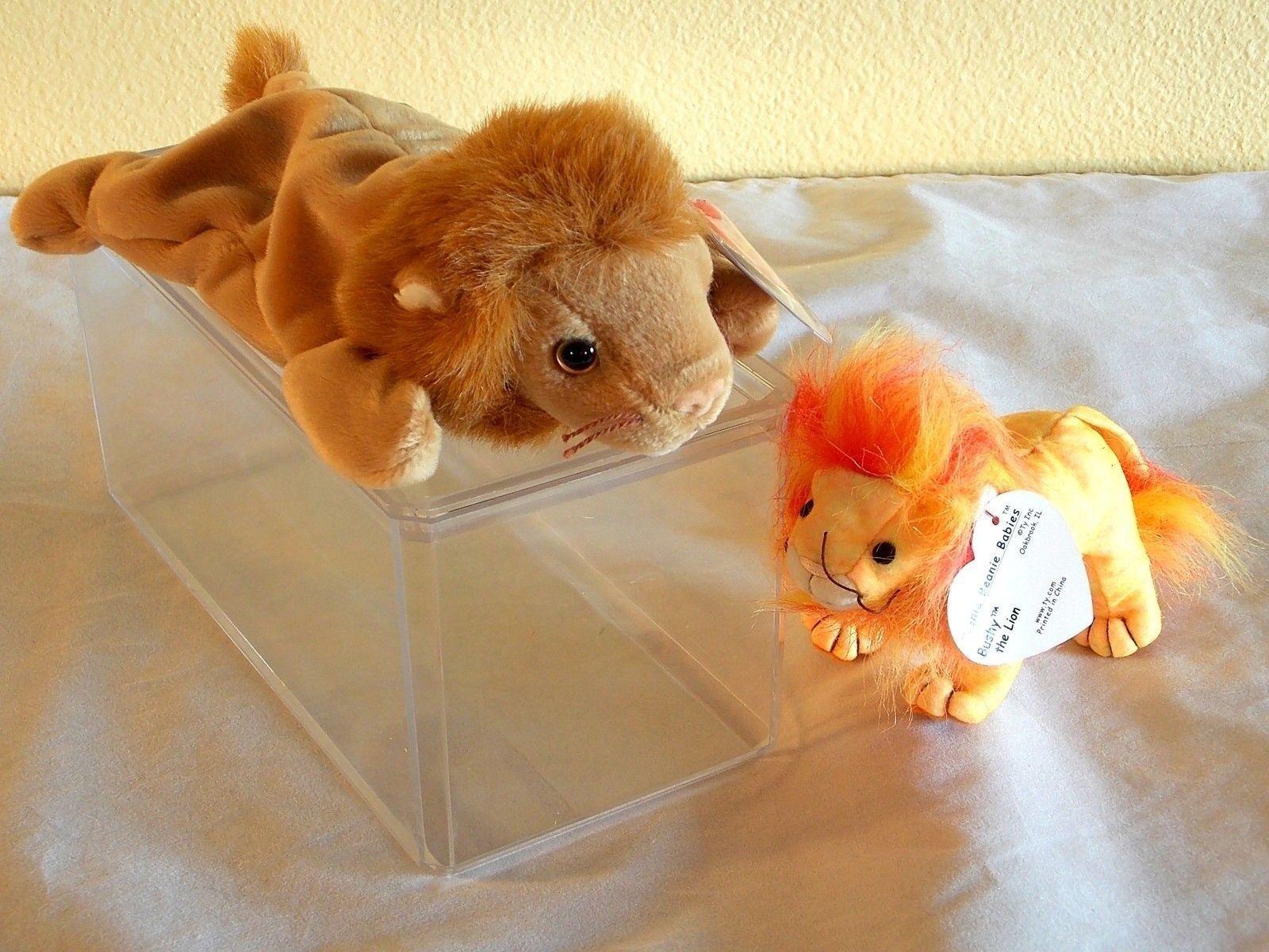 Roary Lion Ty Ty Ty Beanie Baby 6th Gen MWMT Bushy Mint Acrylic Case Swing Tush Lot 922764