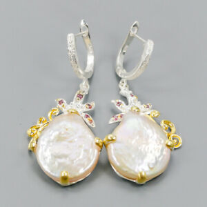 Vintage-Natural-Baroque-Pearl-925-Sterling-Silver-Earrings-E35833