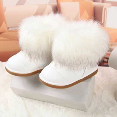 Winter Warm Kids Girls Toddler Faux Fox Fur Casual Ankle Snow Boots Party Shoes
