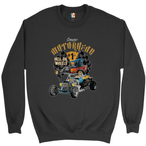 Motorhead Hot Rod Sweatshirt Hell on Wheels Route 66 Drag Racing Crewneck