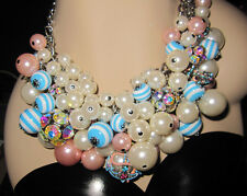 BETSEY JOHNSON ANCHORS AWAY FAUX PEARLS AND ANCHOR STATEMENT NECKLACE