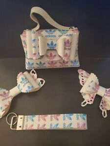 Handmade faux leather little girls purse, bows, and keychain Adidas