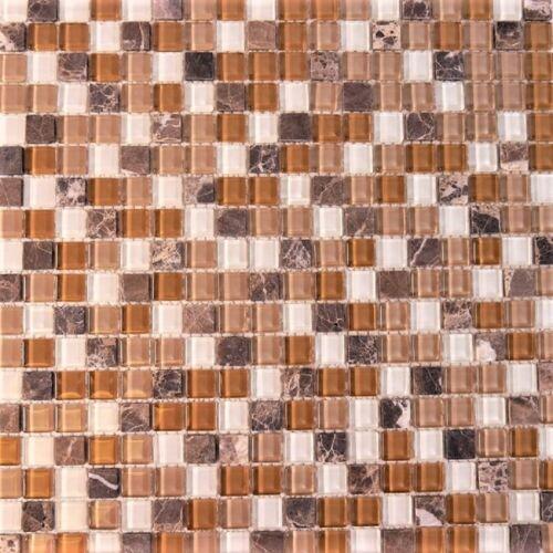 Glas Natursteinmosaik braun beige weiß mix MOES3290-M Musterstück 4,5x4,5cm