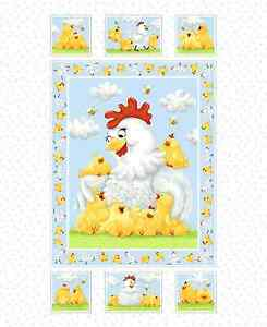 Susybee-039-s-Pippa-Quilt-Top-Panel-Chicken-100-cotton-43-034-fabric-by-the-panel-36-034