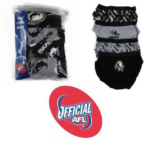 4 PACK  x BOYS COLLINGWOOD PIES OFFICIAL AFL BRIEFS Kids Underwear Jocks Undies