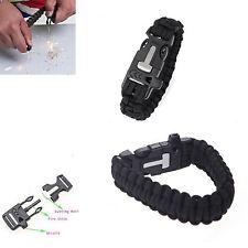 Outdoor Survival Bracelet Paracord Flint Fire Starter Scraper Whistle Gear Kits