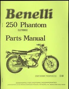 Benelli Phantom 250cc Motorcycle Parts Manual Comopolitan Motors Ebay