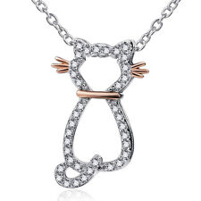 """925 Sterling Silver Kitty Cat CZ Stone Pendant Animal Charm Necklace 18"""" Ss740"""