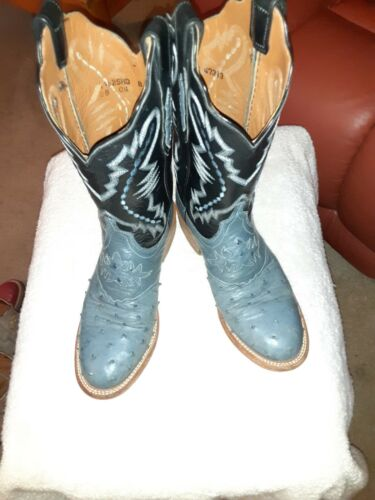 Lucchese Ostrich womens blue cowboy boots size 8