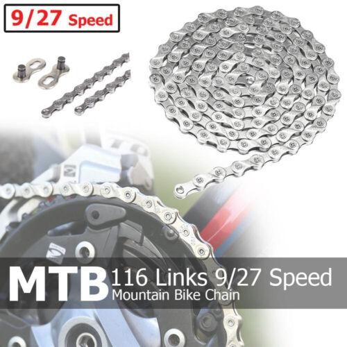 Bike Bicycle Chain 116 Links 9//27 Speed MTB Mountain Road Cycling Steel Chain