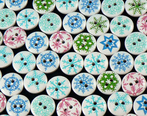 Details About 80 X 15mm Round Wooden Snowflake Christmas Buttons Crafts Sewing More