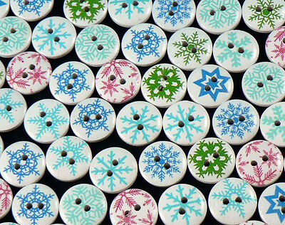 80 x 15mm Round Wooden Christmas Buttons Sewing /& More Snowflake Crafts
