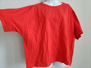 NWT-Ischiko-Oska-Shirt-Safran-252-Florescent-Red-Stretch-Size-4-149-Cotton