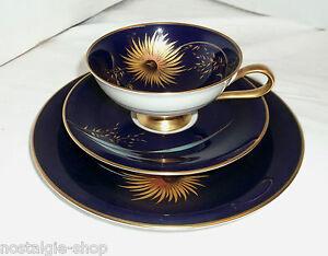 Anni-039-20-30-Art-Deco-Caffe-te-Servizio-3-pz-blu-oro-Heinrich-dipinti-mano