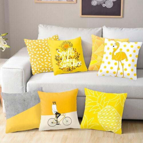"18/"" Yellow Polyester Pillow Case Sofa Car Waist Throw Cushion Cover Home Decor"