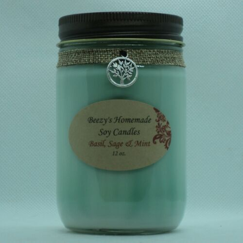 Sage /& Mint Hand Poured Natural Soy Wax Cotton Wick Green Candle 12 oz Basil