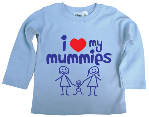 """Baby LGBT Top /""""I Love My Momies/"""" Haut à manches longues T-shirt Tee Gay Pride MUMS"""