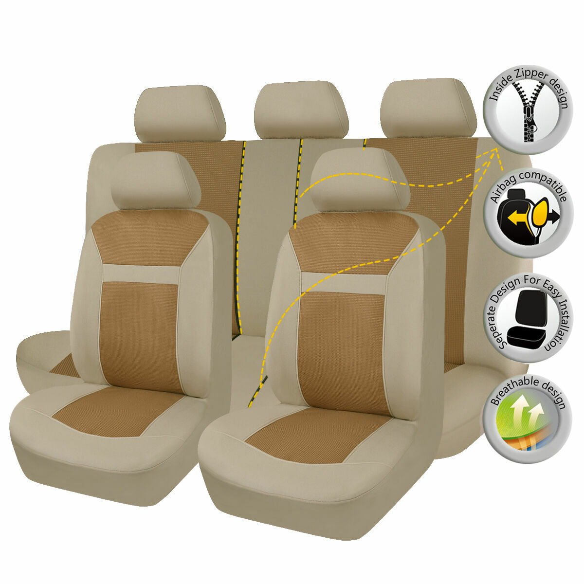 Universal Beige Car Seat Covers Cushions Auto Protector Front Rear Full Set 11PC
