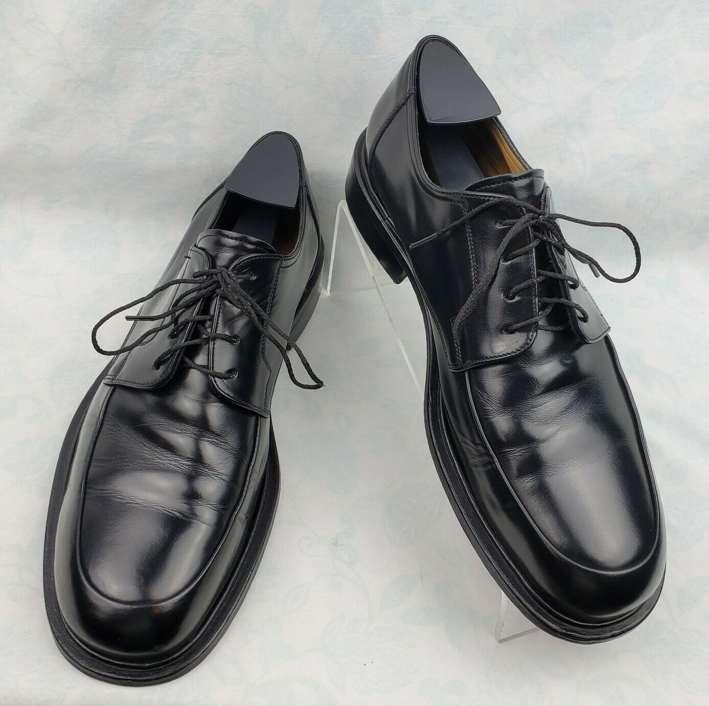 Johnston & Murphy Black Leather Moc Toe Laces Oxford Shoes Men's Size 8.5M Italy