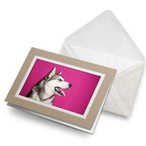 Greetings-Card-Biege-Alaskan-Malamute-Husky-Dog-Puppy-15721