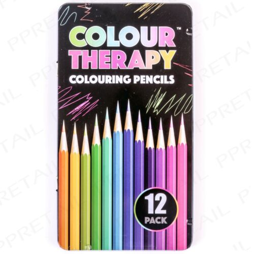 12Pc ADULT COLOURING BOOK PENCILS Anti-Stress HIGH QUALITY Artist Colour Therapy