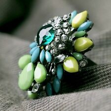 ANTHROPOLOGIE STUNNING MULTICOLOUR BLUE GREEN YELLOW RING – NEW ADJUSTABLE