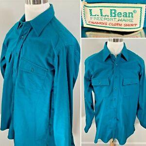 Vintage-LL-BEAN-Chamois-Teal-Blue-Camp-Flannel-Long-Sleeve-Mens-Shirt-Sz-17-Tall