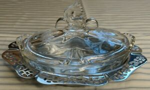 Vintage-Krome-Kraft-Farber-Bros-New-York-Chrome-Tray-With-etched-Glass-Insert
