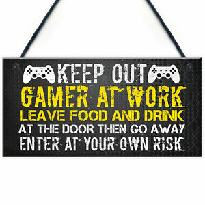 Novelty Gaming Warning Sign Funny Christmas Gift For Brother Son Gamer Gifts Ebay
