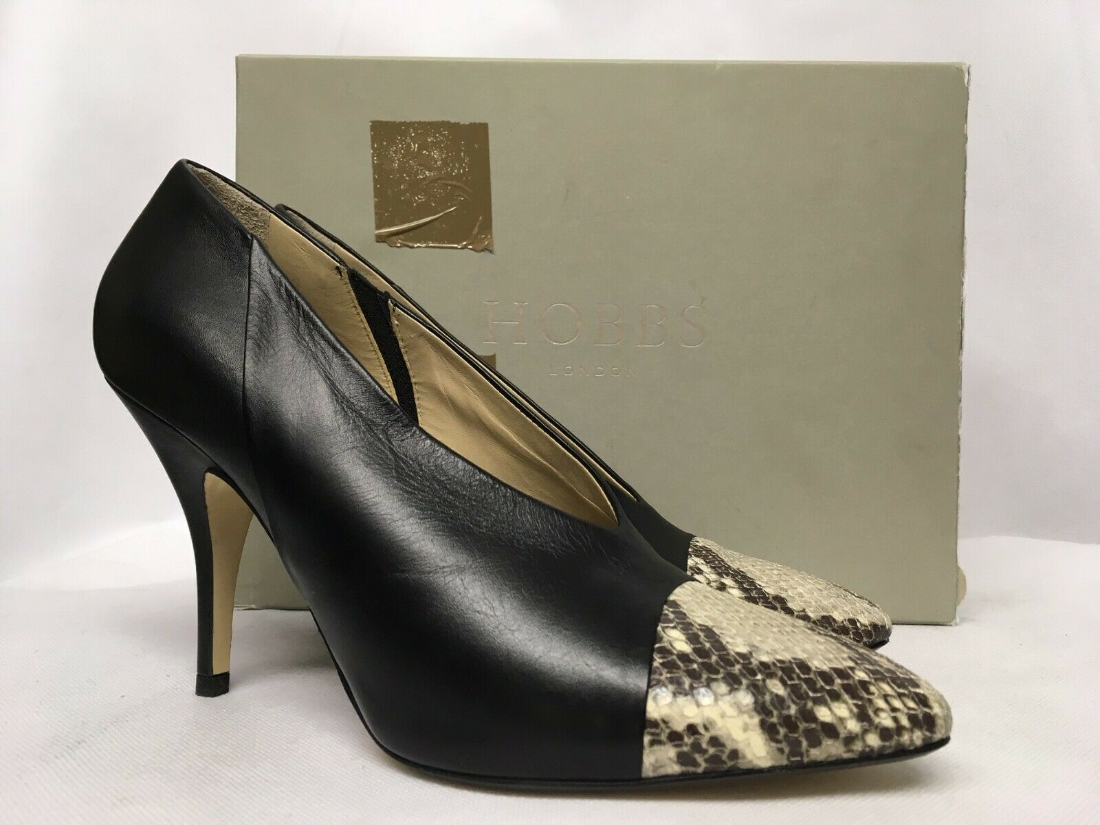 Hobbs Elvie Leather Mix Black Snake shoes. Various Sizes.
