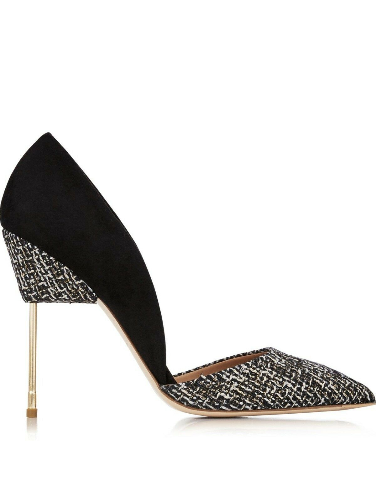 Kurt Geiger Bond Black & Gold Tweed High Heel Court Court Heel Shoes Size 5 EU 38 BNIB 230 636ad1