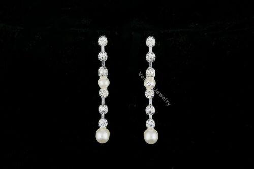 Elegant Bridal Wedding Rhinestone Crystal Pearl Necklace Earrings Set N305