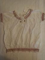 Girl Krazy M Or L White Smocked Short Sleeve Cotton Shirt Top