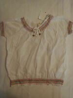 Girl Krazy M Or L White Smocked Short Sleeve Cotton Shirt Top
