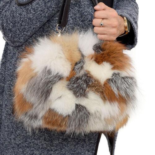 Umhängetasche aus Fuchs Fell Handtasche aus Fuchs Pelz Rot Grau Weiss Tasche FOX