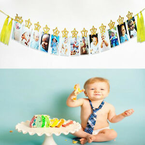 Image Is Loading Baby Shower Photo Bunting Banner 1St One Year