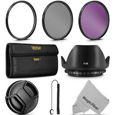 58mm Vivitar UV CPL FLD Filter Kit Lens Hood for Canon EOS Rebel Camera