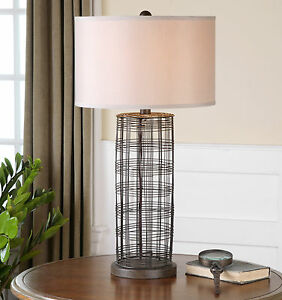 New 30 rustic bronze forged metal wire table lamp drum shade image is loading new 30 034 rustic bronze forged metal wire keyboard keysfo Images