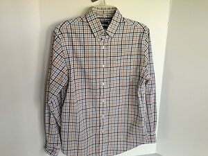 Croft-amp-Barrow-Mens-Small-Easy-Care-Brown-Black-amp-Blue-Check-Long-Sleeve-Shirt