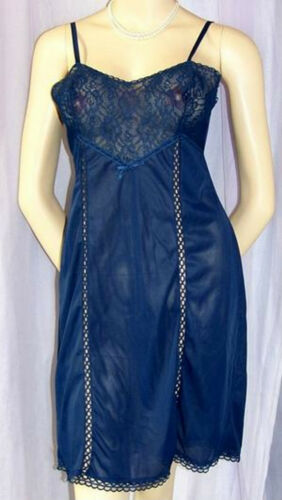 Vintage Underskirt Full Slip Nylon Sheer Navy Petticoat Rockabilly Free Shipping
