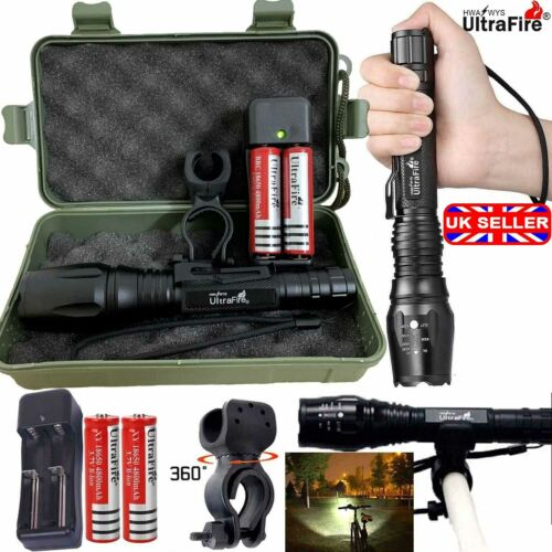 100000LM T6 LED Flashlight Rechargeable Zoomable Torch 18650 Work Light Headlamp