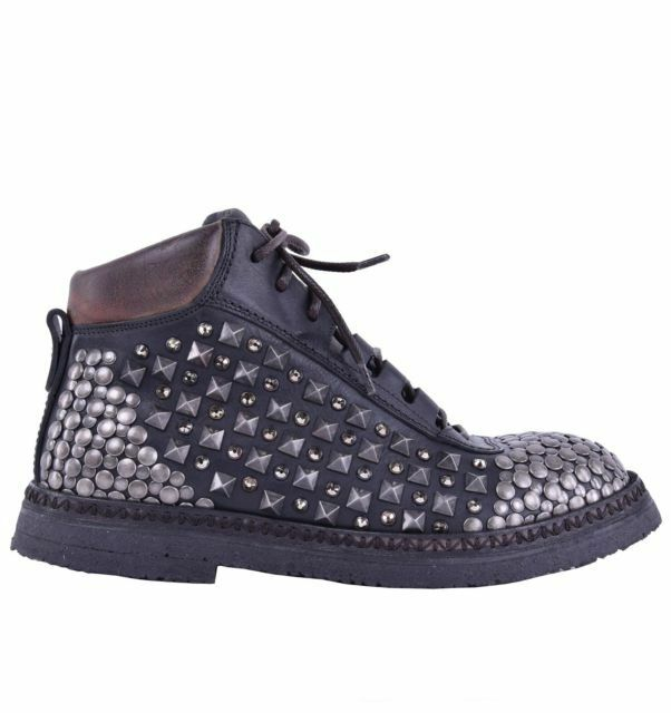 Dolce & Gabbana Runway Ankle Boots Cortina with Rivets Black Boots 04254