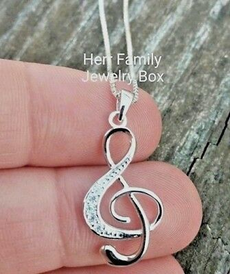 """18"""" Solid .925 Sterling Silver 1"""" Music Musical Note CZ Charm Pendant Necklace"""